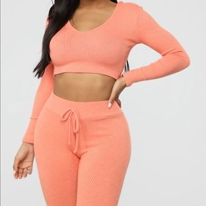 Coral two piece wanderlust fashion nova set